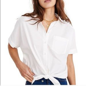 MADEWELL Cotton Tie Front Top